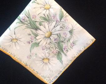 Vintage Daisy Bouquet Sheer Handkerchief (H-38)