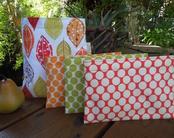 Reusable sandwich and/or snack bag - Matilda leaves and several matching options for the snack bag  -  Pls read description before purchase