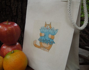 Recycled cotton lunch bag - Canvas lunch bag - Small project bag -  Cat with fish