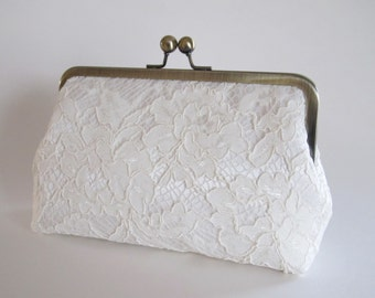 Ivory Chantilly Lace Clutch,Ivory Clutch,Bridal Accessories,Bridesmaid Clutch,Wedding Clutch,Bridal Clutch,Bags And Purses