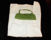 TOWEL #11 For Knobs Green White Xtra Long CottonTerry Cloth, USA, Dog's Paws, Kitchen, Utility Room, Studio, Gift, Man's Kitchen, Work Shop