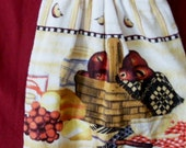 HANGING TOWEL #2,Pair, Button On, Red Apple Basket, Made in US, Fabric Top, Terry Cloth ,