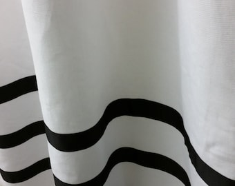 Pair of  linen curtains drapes, panels, White and  black grosgrain ribbon or choose your own color