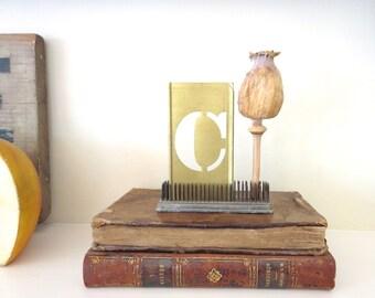 """1 vintage brass C stencil, letter C, capital C, 4 inch stencil, 4 """" stencil C, old stencil, metal stencil, old, rustic, primitive, antique"""