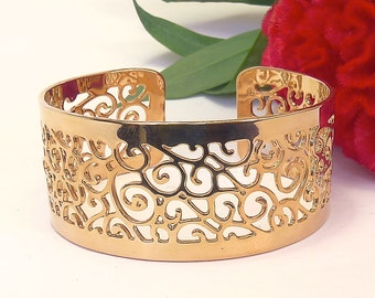Gold cuff bracelet, interlaced spirals, gold bracelet, dainty gold bracelet, gold bangle, gold jewelry