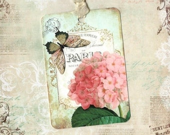 Tags, Hydrangea Tags, Florals, Butterfly Tags