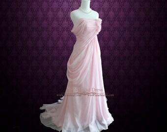 Blush Pink Ethereal Grecian Goddess Off Shoulder Evening Prom Dress | Formal Evening Dress | Formal Gown | T141101