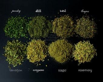 Herbs and Spices, kitchen art print, chiaroscuro, fine art photography, restaurant decor, food photography, chef baker, market bazaar, green