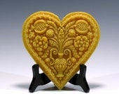 Beeswax Springerle Heart Ornament Beeswax Ornament Beeswax Heart Ornament