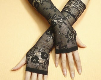 Black gothic Lace Gloves, Fingerless Evening Gloves, Retro Steampunk Mittens, Baroque, Arm warmers in Gypsy Belly Dance Wicca, Armstulpen