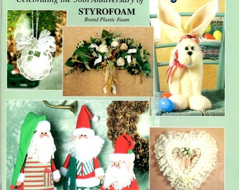 50 Great Projects Anniversary Styrofoam Rabbit Angel Ornaments Cactus Witch Angel Stork Gingerbread House Craft Pattern Leaflet HOTP 2190