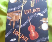 LIVE JAZZ print fabric covered Journal