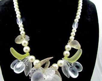 Vintage Plastic Fruit & Faux Pearl Necklace