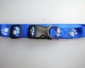 Medium dog collar 1 inch nylon webbing reflective paw prints on blue