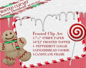 Candy Clipart, Christmas Candy Clipart, Gingerbread Clipart, Holiday Graphics