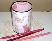 Cat Desk Accessories - Cat Pencil Holder - Pencil Cup - Cat Lover's Desk Set -  Pink Desk Accessories - Office Decor - Desk Decor - 524