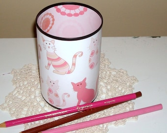 Cat Desk Accessories - Cat Pencil Holder - Pencil Cup - Cat Lover's Desk Set -  Pink Desk Accessories - Office Decor - Desk Decor - 524