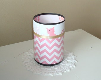 Pink Chevron Cat Desk Accessories - Cat Pencil Holder - Pencil Cup -  Cat Desk Accessories - Office Decor - Desk Decor - 414