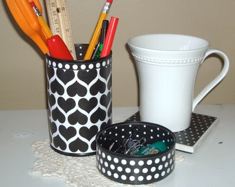 Black and White Hearts and Polka Dots Desk Accessories and Coaster  / Heart Pencil Holder / Pencil Cup / Desk Organizer / Office Decor - 767