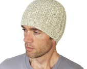 Mens Merino Beanie Taylor Oatmeal Cable Hat Hand Knit Beige Ivory Wool Size M L Gift Wrapped