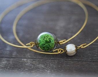 Real Moss Two Brass Bracelet