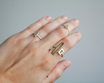 Adjustable link ring- two tone adjustable ring- geometric ring- modern adjustable ring- sterling silver and gold tone ring