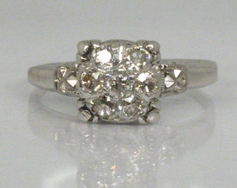 Antique Old European Cut Diamond Engagement Ring - Dome Top Seven Diamond Ring