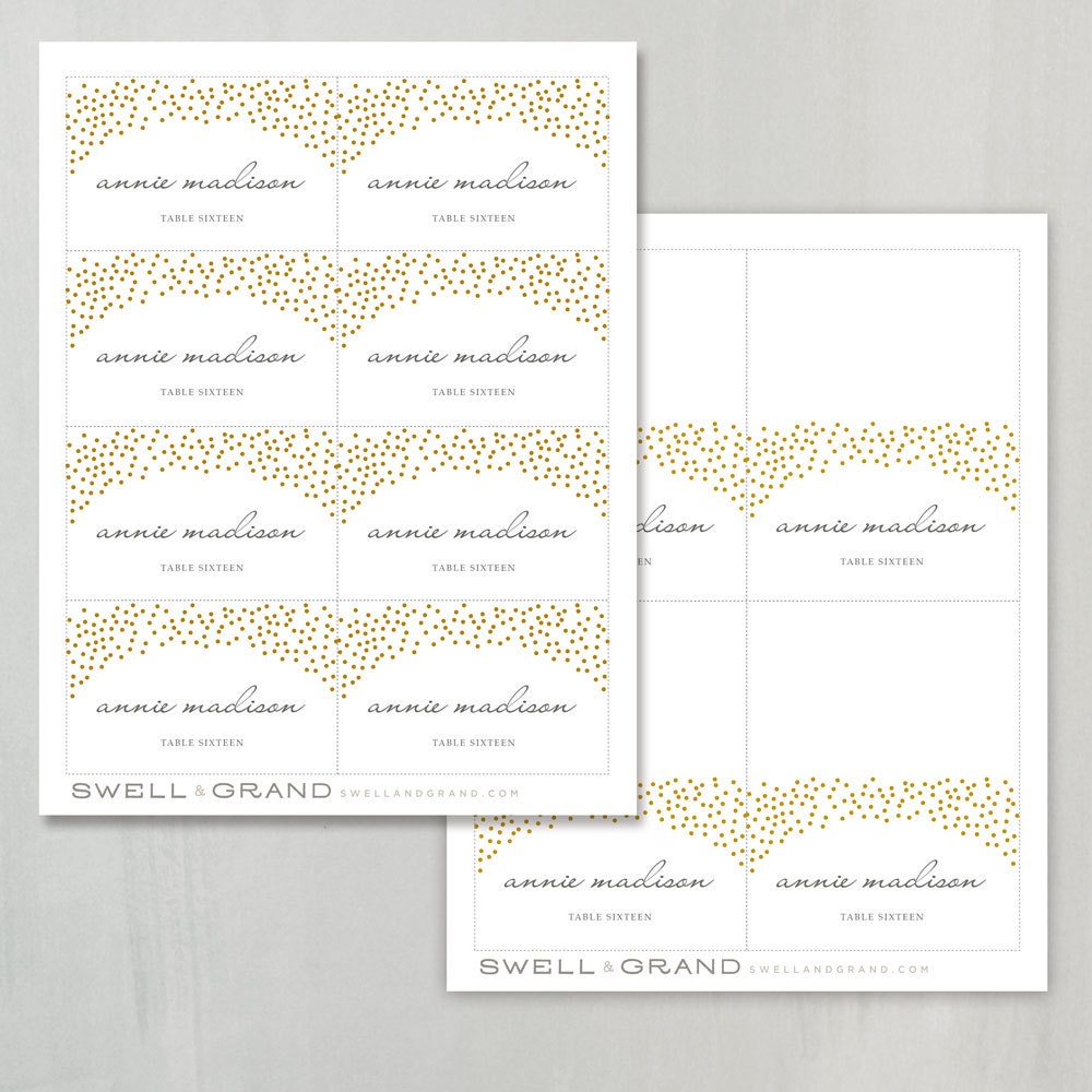 printable place card template instant download gold dots escort card editable colors. Black Bedroom Furniture Sets. Home Design Ideas
