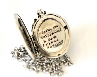 Personalized Locket, Bridesmaid Gift, Silver Ox Hand Stamped Locket, Floral Locket Necklace, Wedding