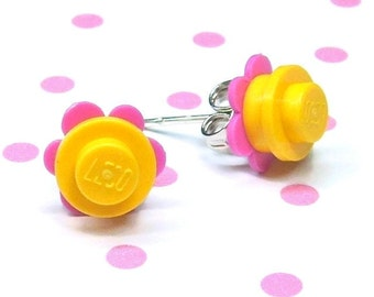 Crazy Daisy Stud Earrings made from LEGO® Pieces - Yellow and Dark Pink