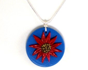 Red Daisy on Wood Pendant, Hand Painted with Silver Plated Snake Chain