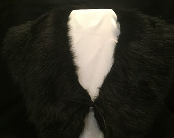 Black Faux Fur - Shawl Collar