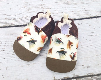 Classic Vegan Fly Fishing in Natural / Non-Slip Soft Sole Baby Shoes / Made to Order / Babies Toddlers Preschool