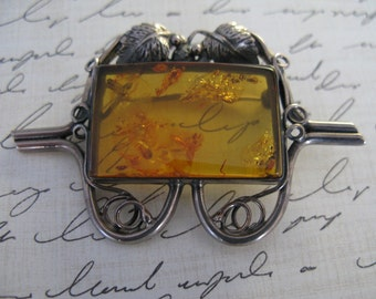 Baltic Amber and Sterling Silver Pin