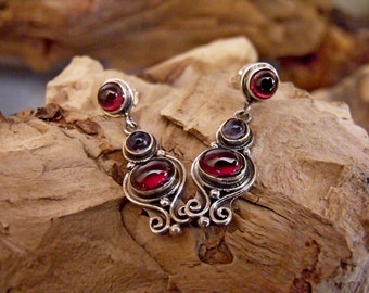 Sterling Silver Earrings with Genuine Garnet and Sapphire Stones RF723