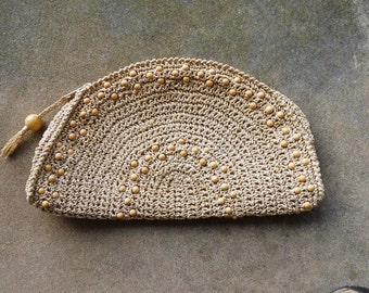 Vintage Sixties crochet clutch purse with beads accents. Made in Japan. Hippie. Boho. Rattan. Raffia.