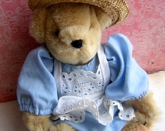 Vintage  Muffy Vanderbear A Day in the Country with Summer Dress & Straw Hat -  Collectible Bear - Teddy Bear Girl - North American Bear Co