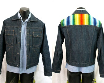 Mens Denim Jacket - Blanket Weave Colored Insert -  Vintage 1970s Americana - size 40