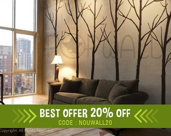 Modern Winter Trees decal for home and nursery - 6 trees set - Easy to install sticker on wall - simple shape trees on most walls - 036