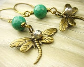 Gold Brass green Chrysoprase stone dragonfly Earrings Dangle Petal nature labradorite handmade
