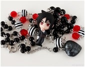 Sebastian Michaelis Necklace, Black and White Beaded Pearl Chain with Figure Pendant - Anime, Kuroshitsuji