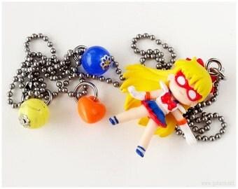 Sailor Moon Necklace, Sailor Venus Figure Pendant, Stainless Steel Chain - Anime, Magical Girl