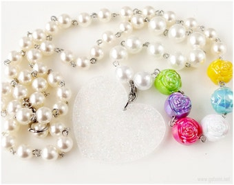 Heart Necklace, Sparkly Pendant, Beaded Pearl Chain, Colorful Rose Accents - Gyaru, Harajuku