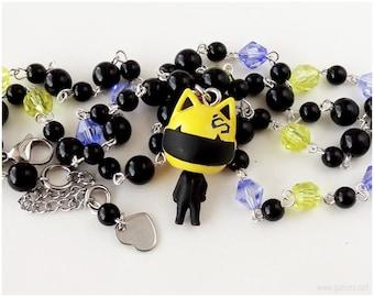 Durarara Celty Necklace, Anime Figure Pendant, Beaded Rosary Chain, Blue, Black, Yellow - Kawaii Jewelry
