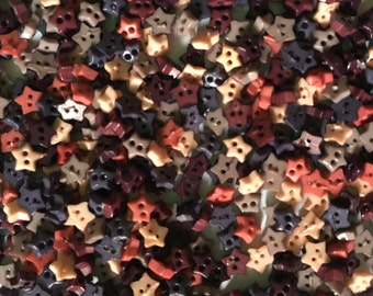 200 pcs tiny star buttons for crafts sewing size 4mm mix earth tone colors