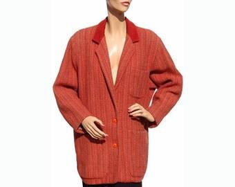 Vintage 1980s Kenzo Wool Jacket - Red Tweed - M