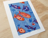 Linocut Print, Beach House Art, Fish Print, Nautical Decor, Bathroom Decor
