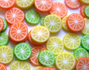 Dollhouse Miniature Food Orange, Lemon, Lime Slices in 12th Scale