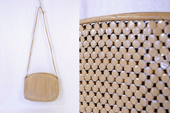 Vintage Shoulder Bag Clutch metal mesh tan taupe nude