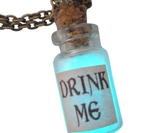 Alice in Wonderland 24mm bottle drink me necklace Victorian gothic Lolita pendant charm GLOW in the dark - Fairy Angel magical dust-Aqua
